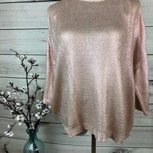 Sweater pink mettalic 3/4 sleeves
